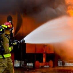 firefighters battling a blaze