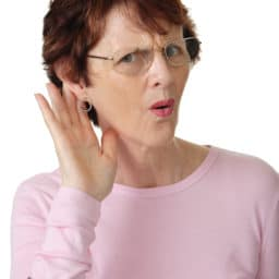 Woman struggling to hear.