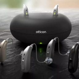 Oticon hearing aids and charging station